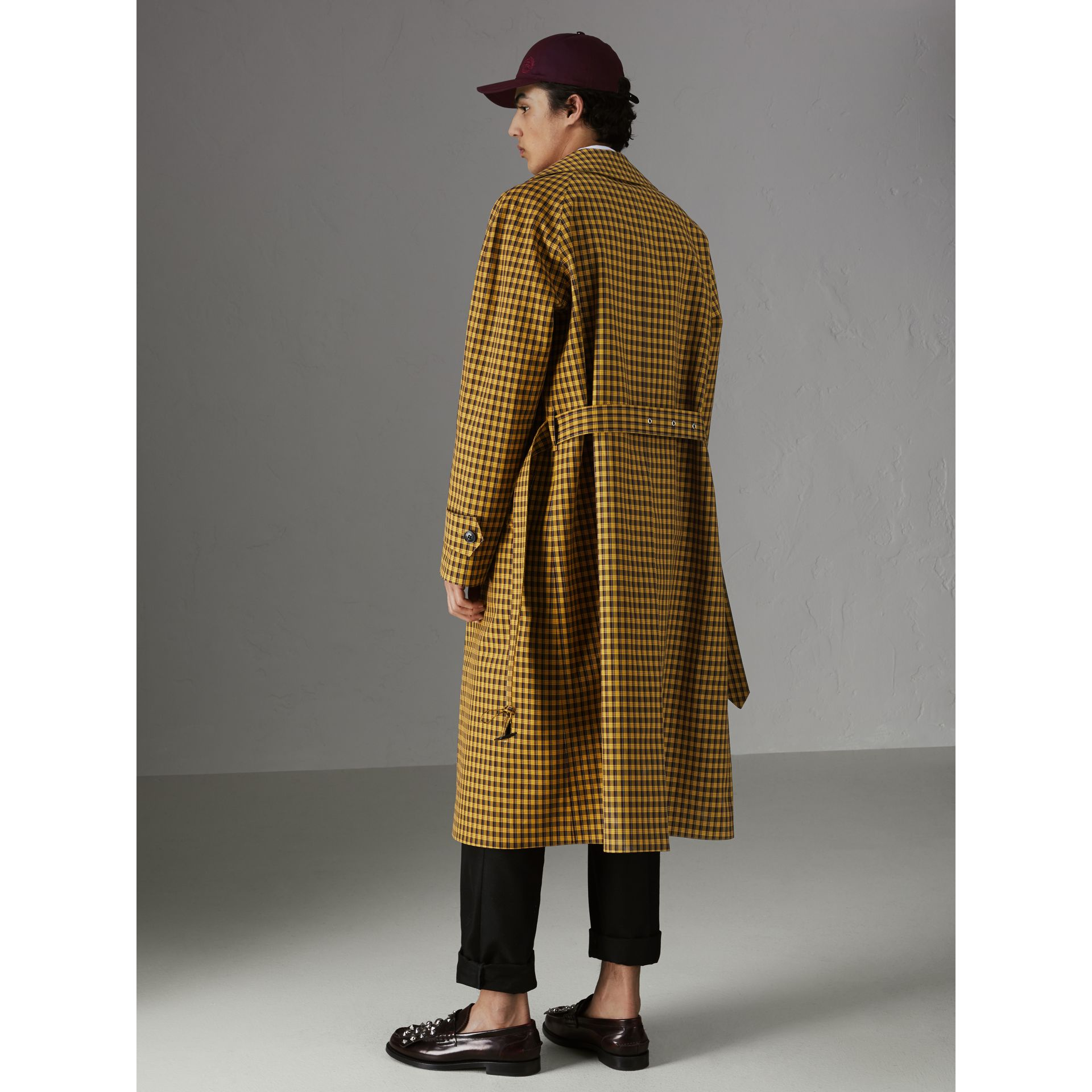 Shrunken Check Bonded Cotton Car Coat in Saffron Yellow - Men | Burberry - gallery image 2