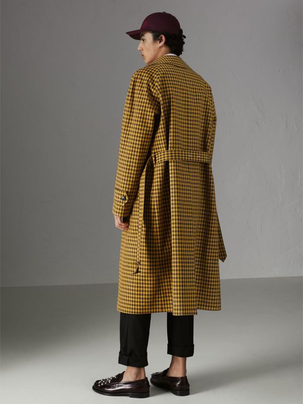 Shrunken Check Bonded Cotton Car Coat in Saffron Yellow - Men | Burberry - cell image 2