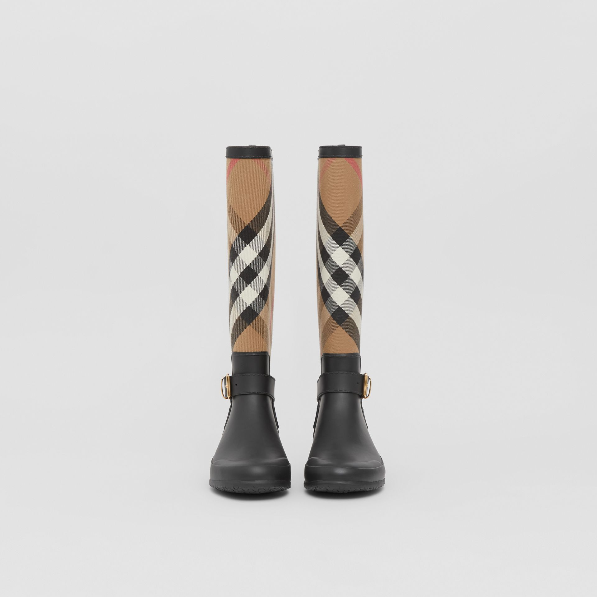 Belt Detail Check and Rubber Rain Boots in House Check/black - Women | Burberry - gallery image 2