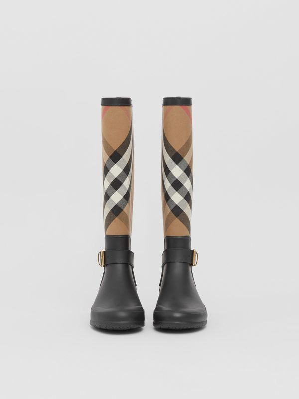 Belt Detail Check and Rubber Rain Boots in House Check/black - Women | Burberry United Kingdom - cell image 2