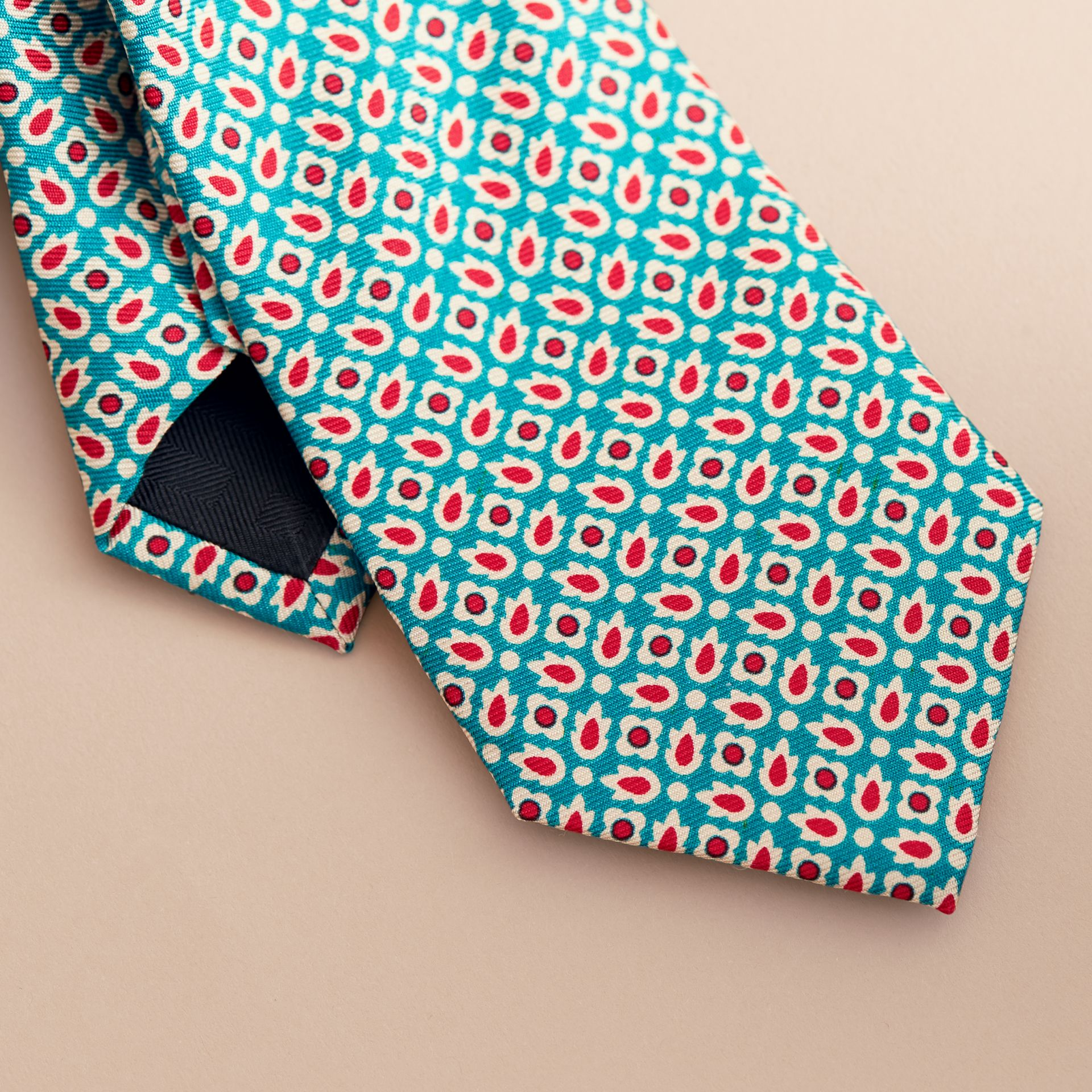 Slim Cut Abstract Floral Silk Tie in Mineral Green - Men | Burberry - gallery image 2