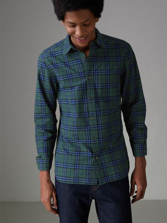 Check Cotton Shirt in Forest Green