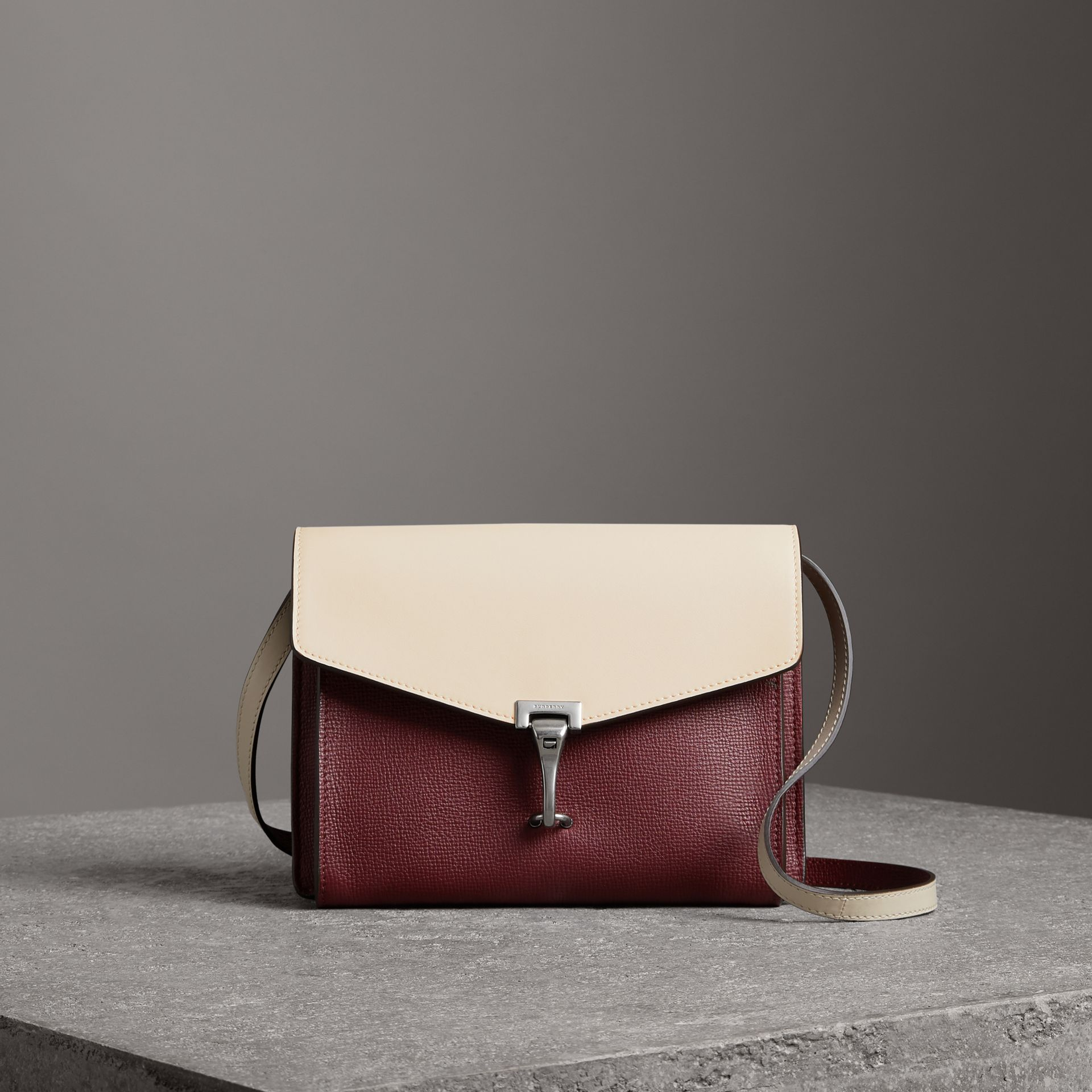 Two-tone Leather Crossbody Bag in Mahogany Red/limestone - Women | Burberry United States - gallery image 0