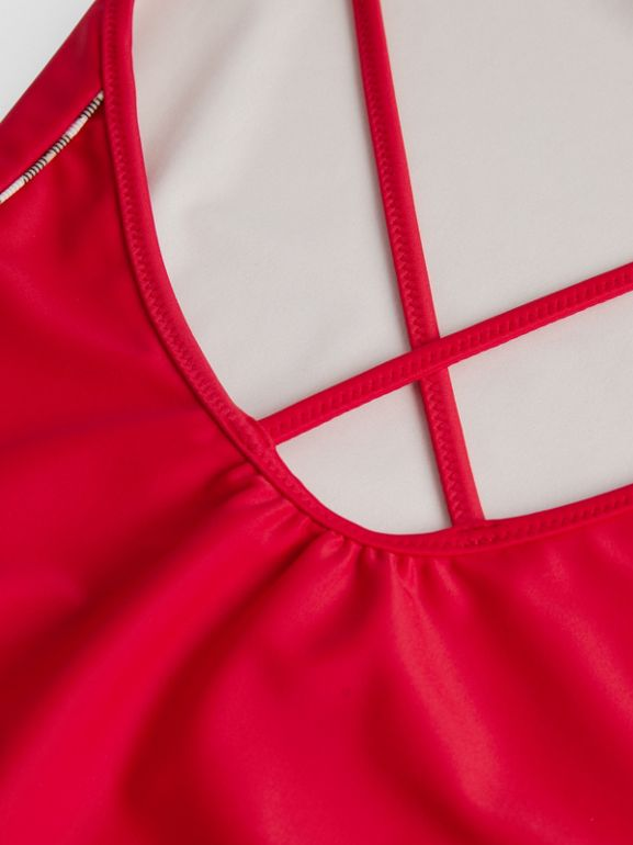 Check Detail One-piece Swimsuit in Poppy Red | Burberry - cell image 1