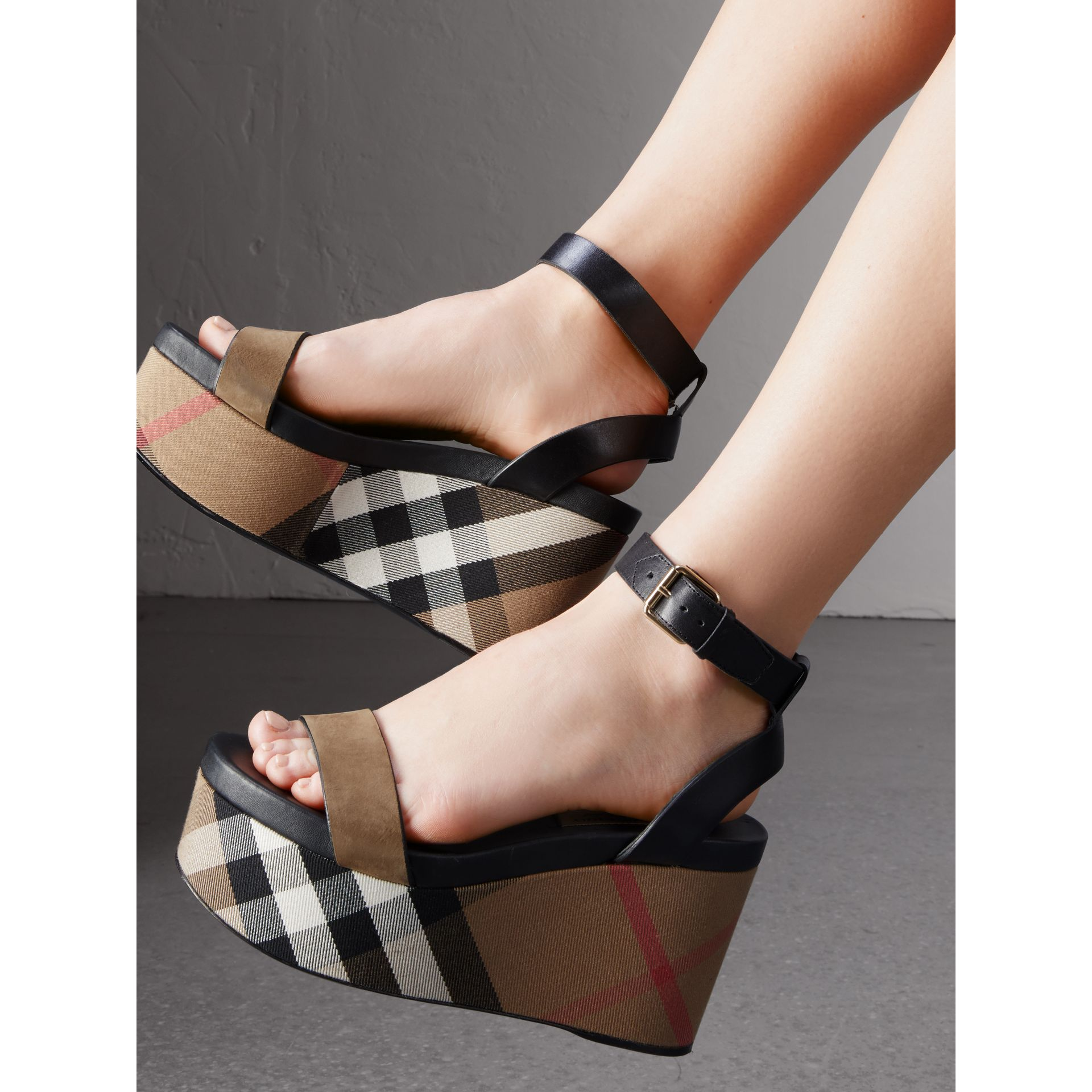 House Check and Leather Wedge Sandals in Dark Heather Melange - Women | Burberry - gallery image 2