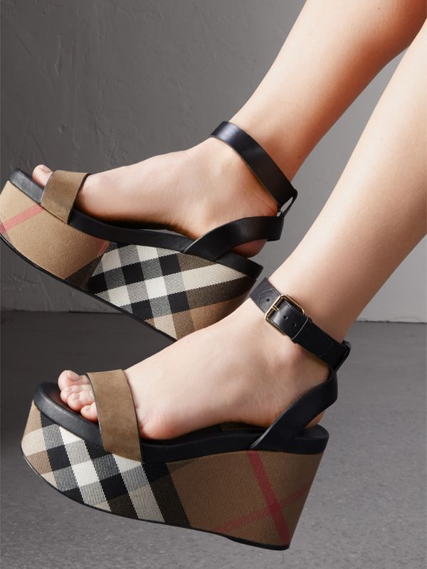 House Check and Leather Wedge Sandals in Dark Heather Melange - Women | Burberry - cell image 2