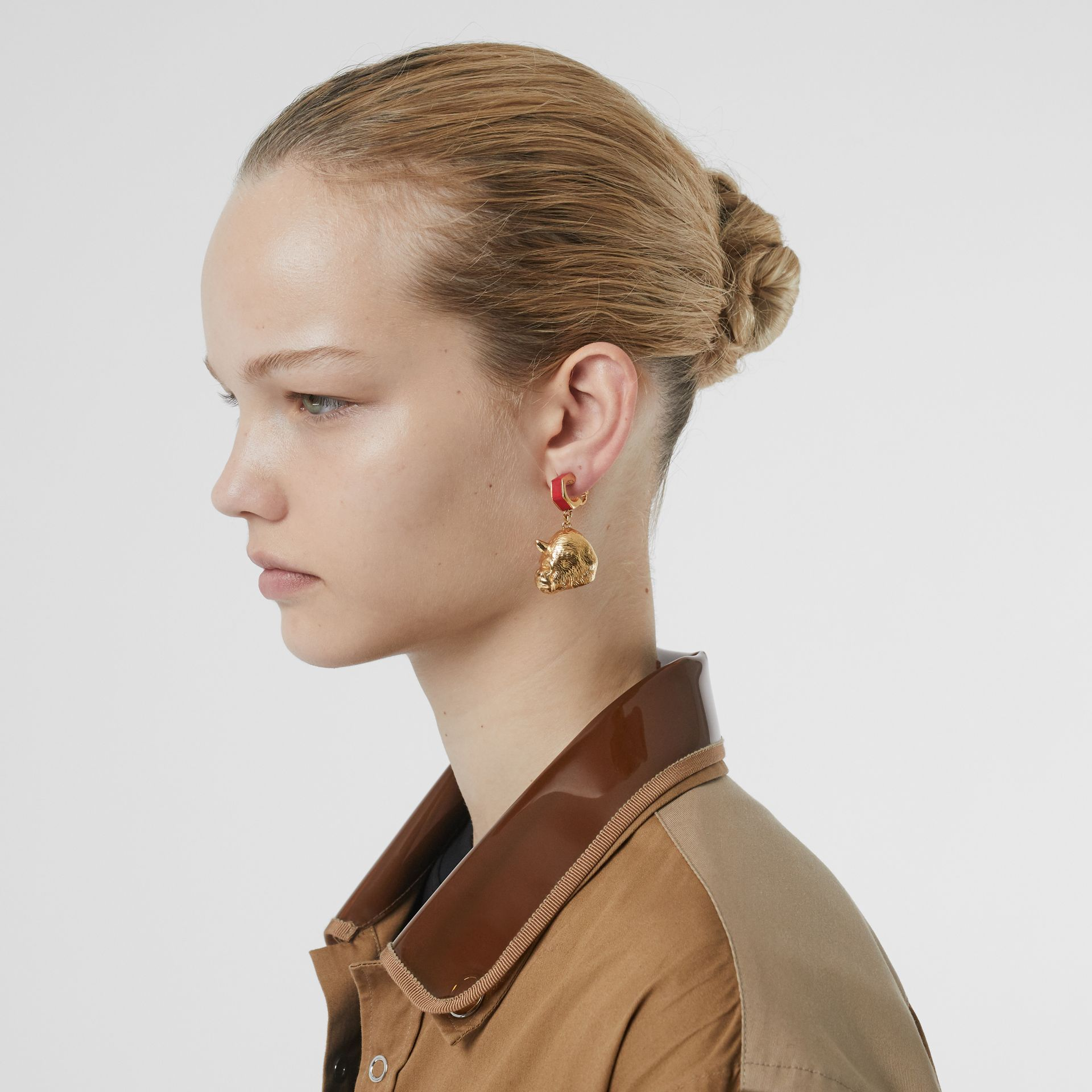 Leather and Gold-plated Nut and Gorilla Earrings in Bright Red/light - Women | Burberry United Kingdom - gallery image 2