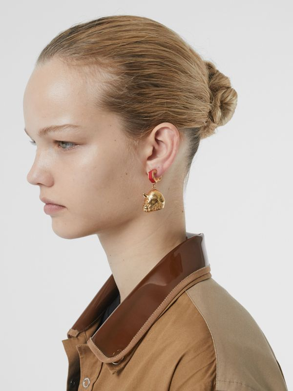 Leather and Gold-plated Nut and Gorilla Earrings in Bright Red/light - Women | Burberry United Kingdom - cell image 2