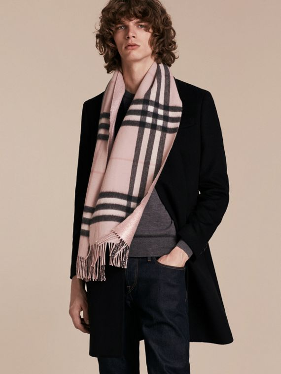Reversible Metallic Check Cashmere Scarf in Ash Rose - cell image 3