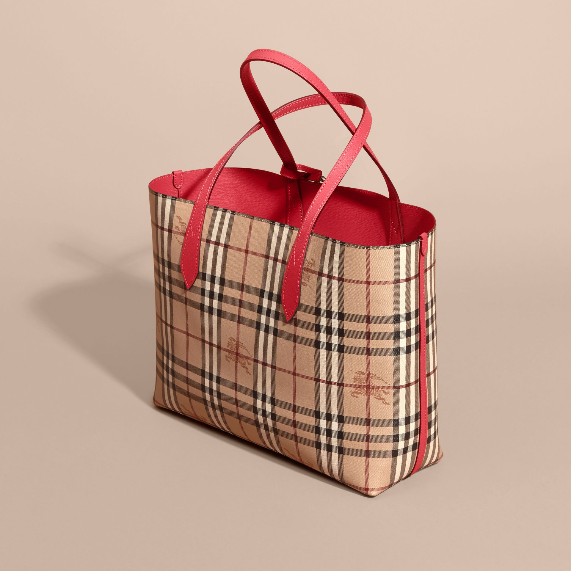 The Medium Reversible Tote in Haymarket Check and Leather Coral Red - gallery image 6