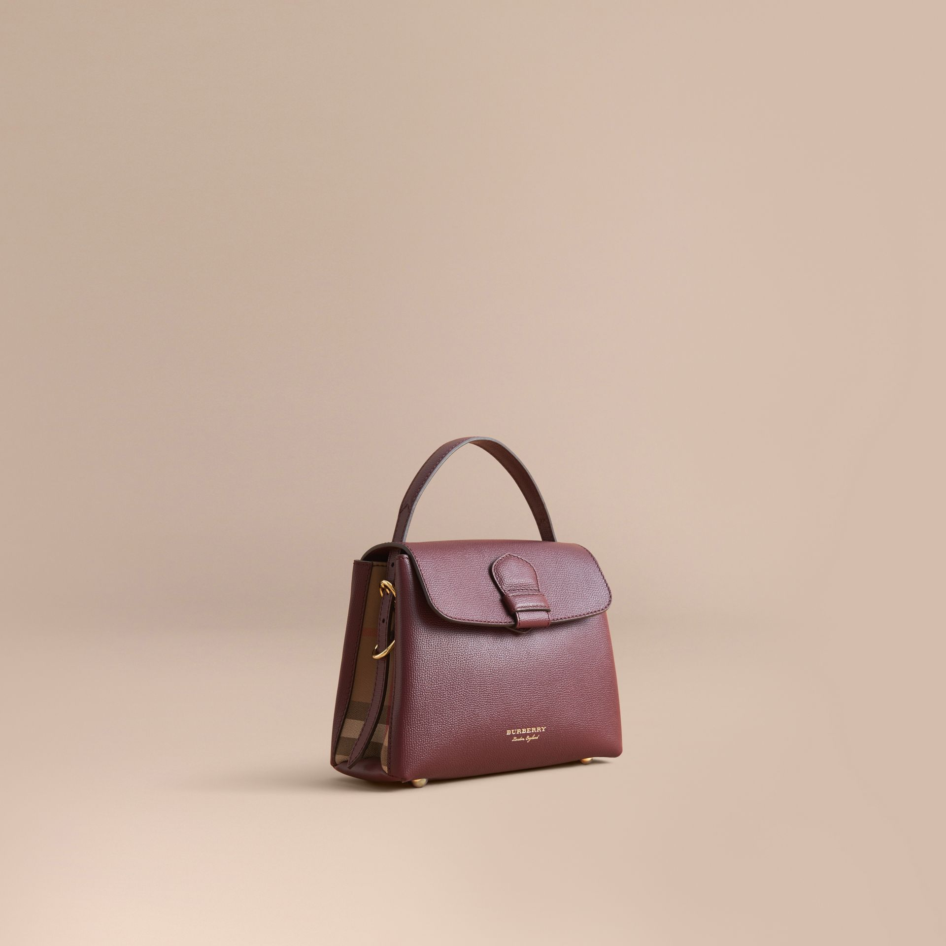 Small Grainy Leather and House Check Tote Bag Mahogany Red - gallery image 1