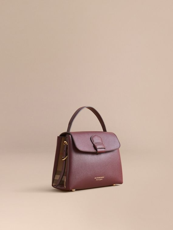 Small Grainy Leather and House Check Tote Bag Mahogany Red