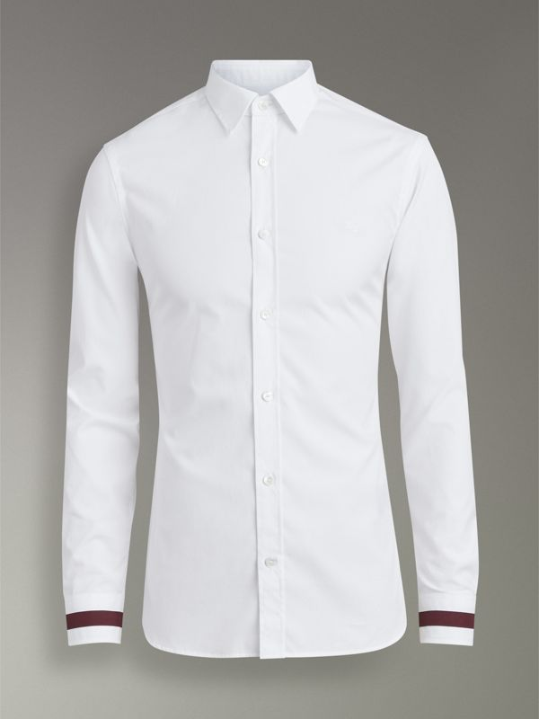 Stripe Detail Stretch Cotton Shirt in White - Men | Burberry Canada - cell image 3