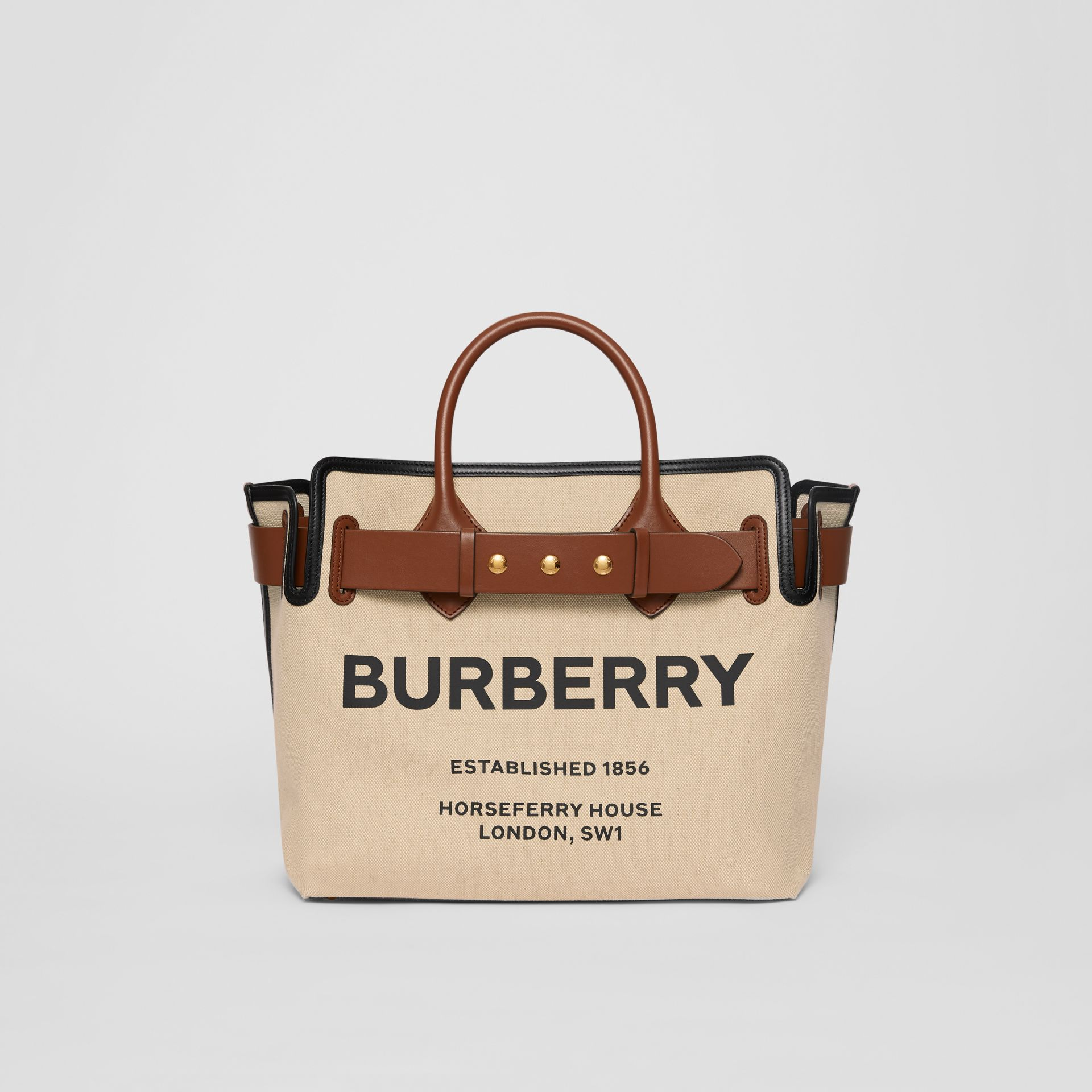 The Medium Cotton Canvas Triple Stud Belt Bag in Malt Brown/black - Women | Burberry Australia - gallery image 0