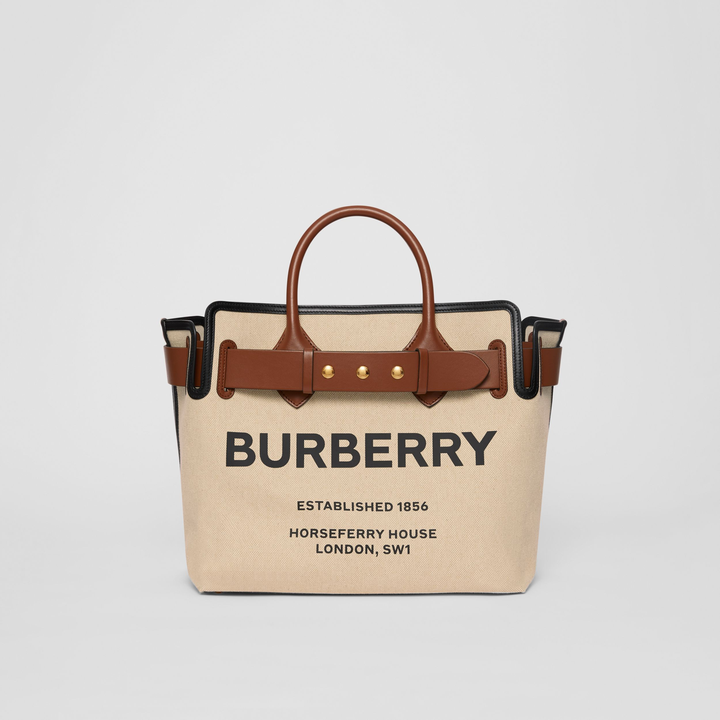 The Medium Cotton Canvas Triple Stud Belt Bag in Malt Brown/black - Women | Burberry - 1