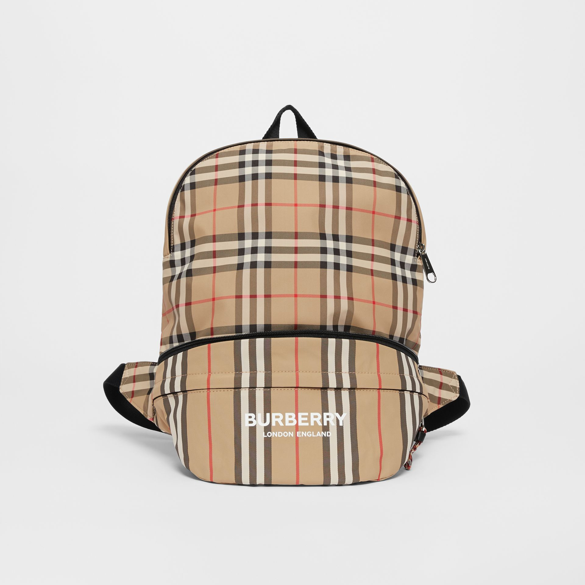 Vintage Check and Icon Stripe Convertible Bum Bag in Archive Beige - Children | Burberry - gallery image 0