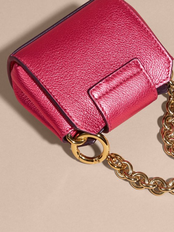 Bright pink The Mini Buckle Tote Charm in Metallic Leather Bright Pink - cell image 3