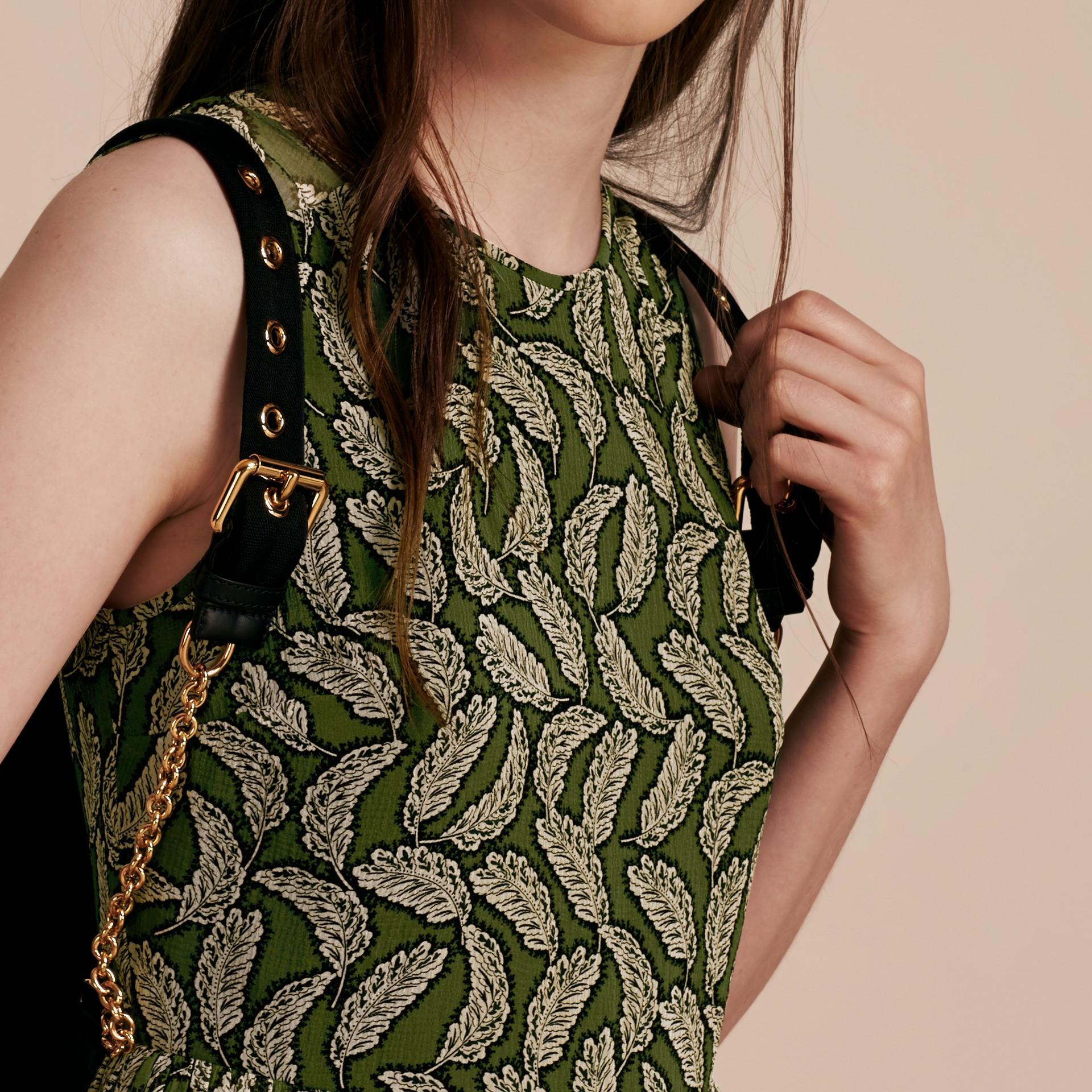 Dusty green Leaf Print Silk Midi Dress - gallery image 5