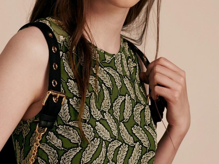 Dusty green Leaf Print Silk Midi Dress - cell image 4