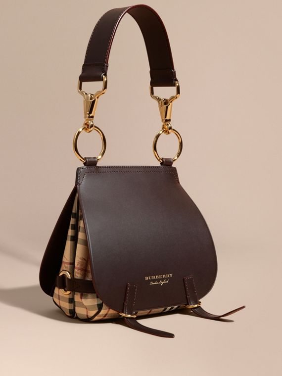 The Bridle Bag in Leather and Haymarket Check in Dark Clove Brown - Women | Burberry Singapore