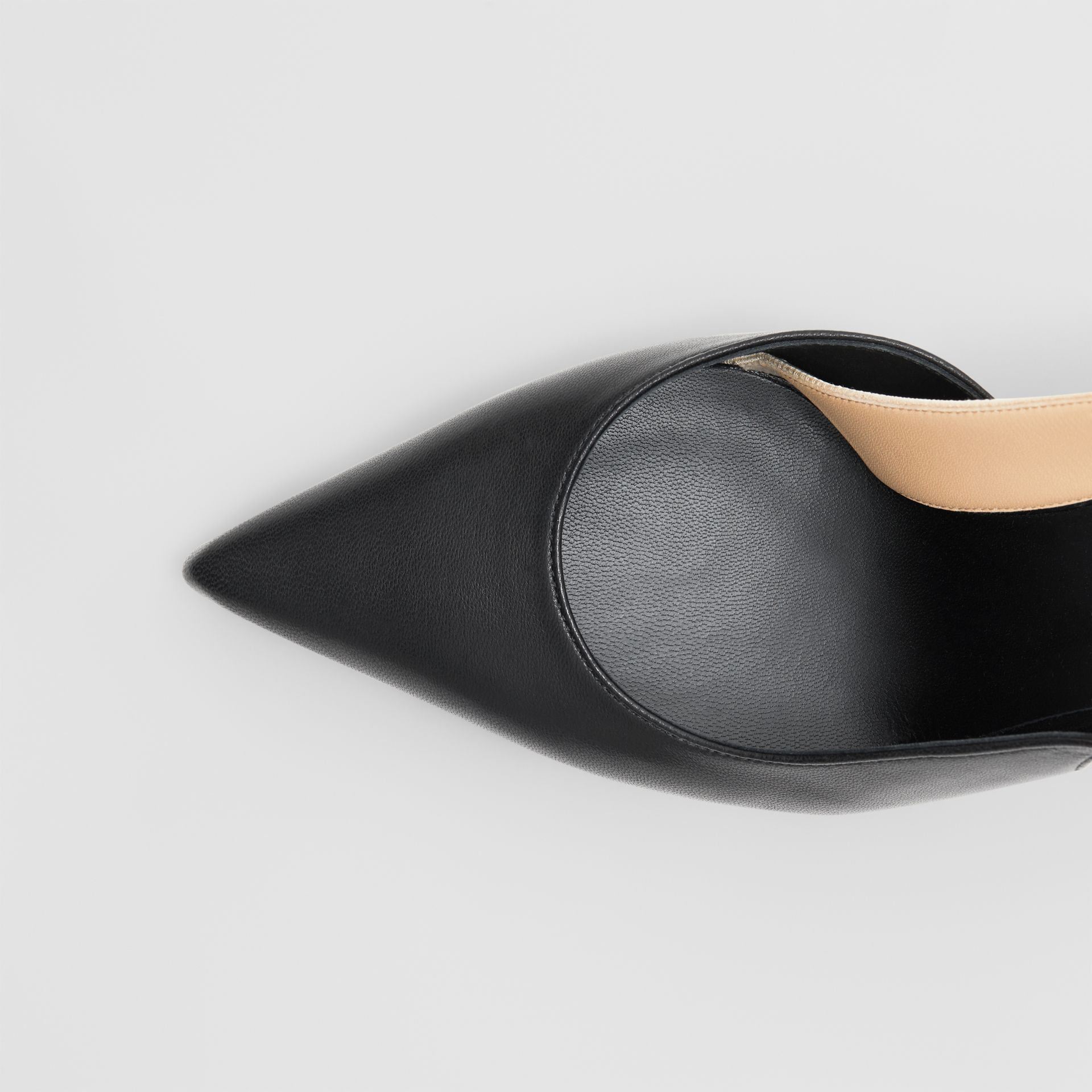 Logo Detail Lambskin Slingback Pumps in Black - Women | Burberry Australia - gallery image 6