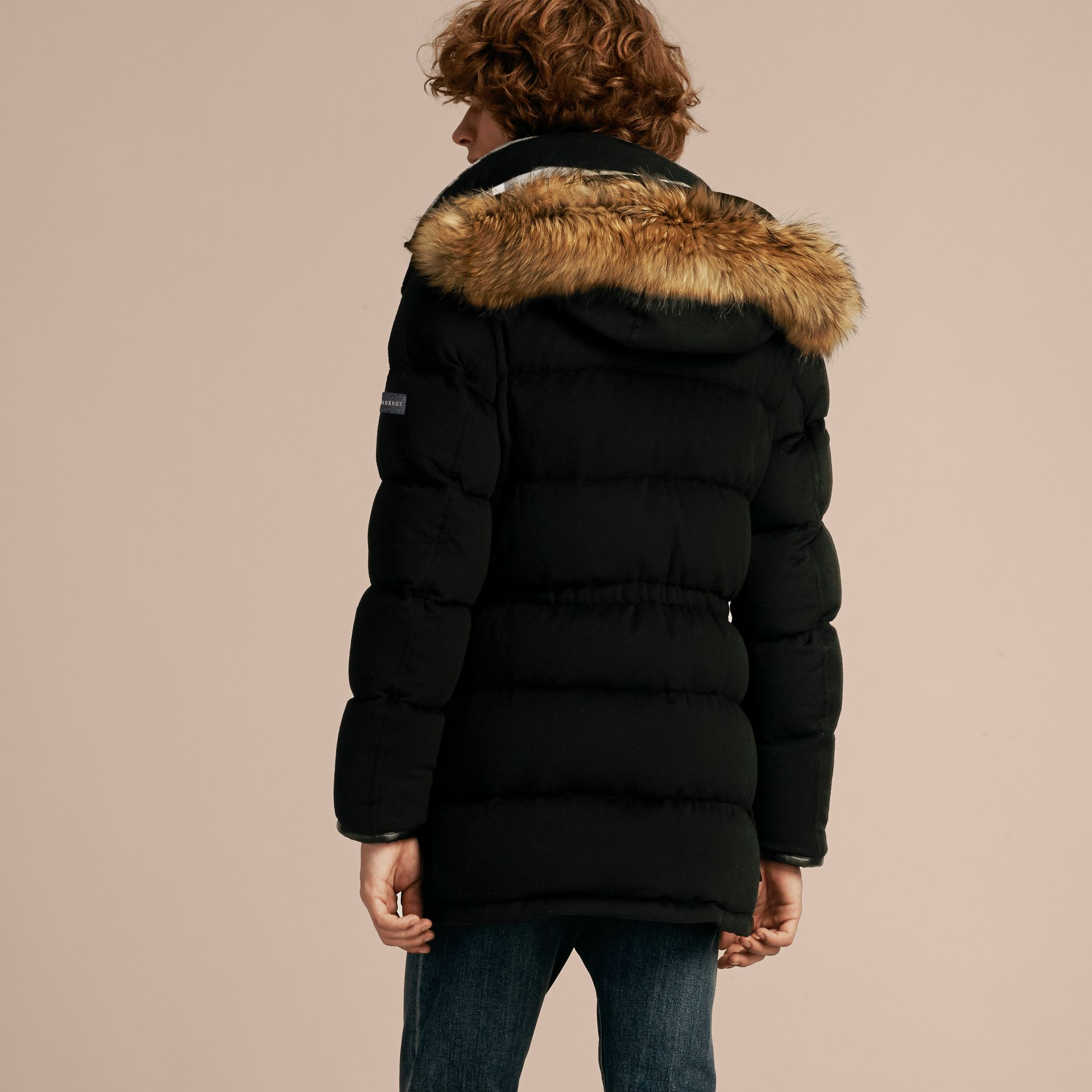 Down-filled Cashmere Parka with Detachable Fur Trim in Black - gallery image 3