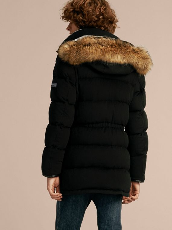 Down-filled Cashmere Parka with Detachable Fur Trim in Black - cell image 2