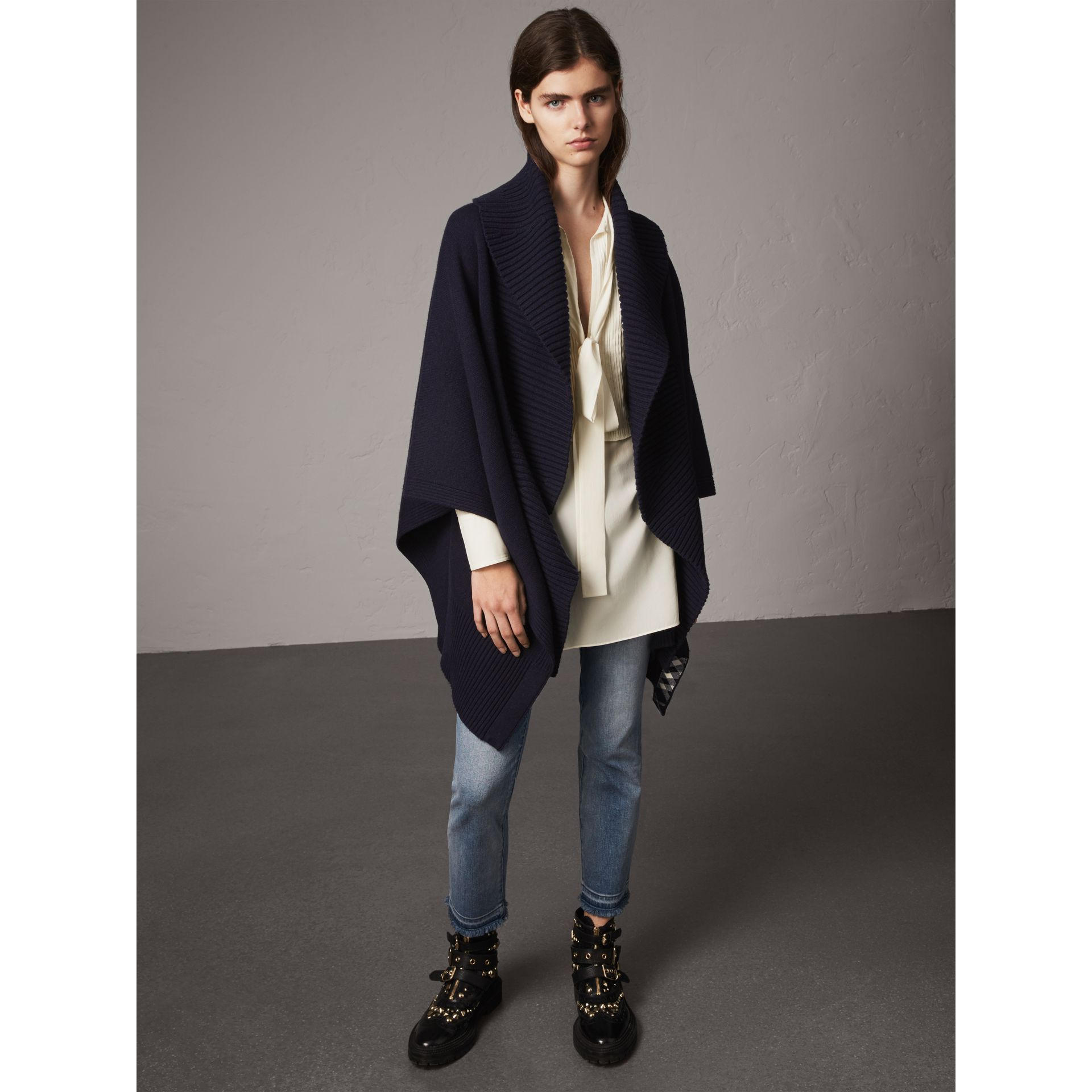 Shawl Collar Wool Cashmere Poncho in Indigo - Women | Burberry - gallery image 1