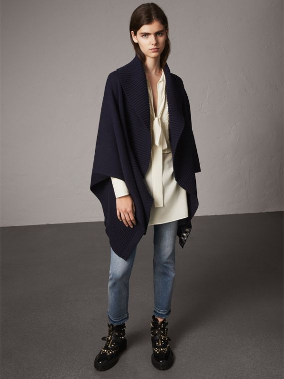 Shawl Collar Wool Cashmere Poncho in Indigo