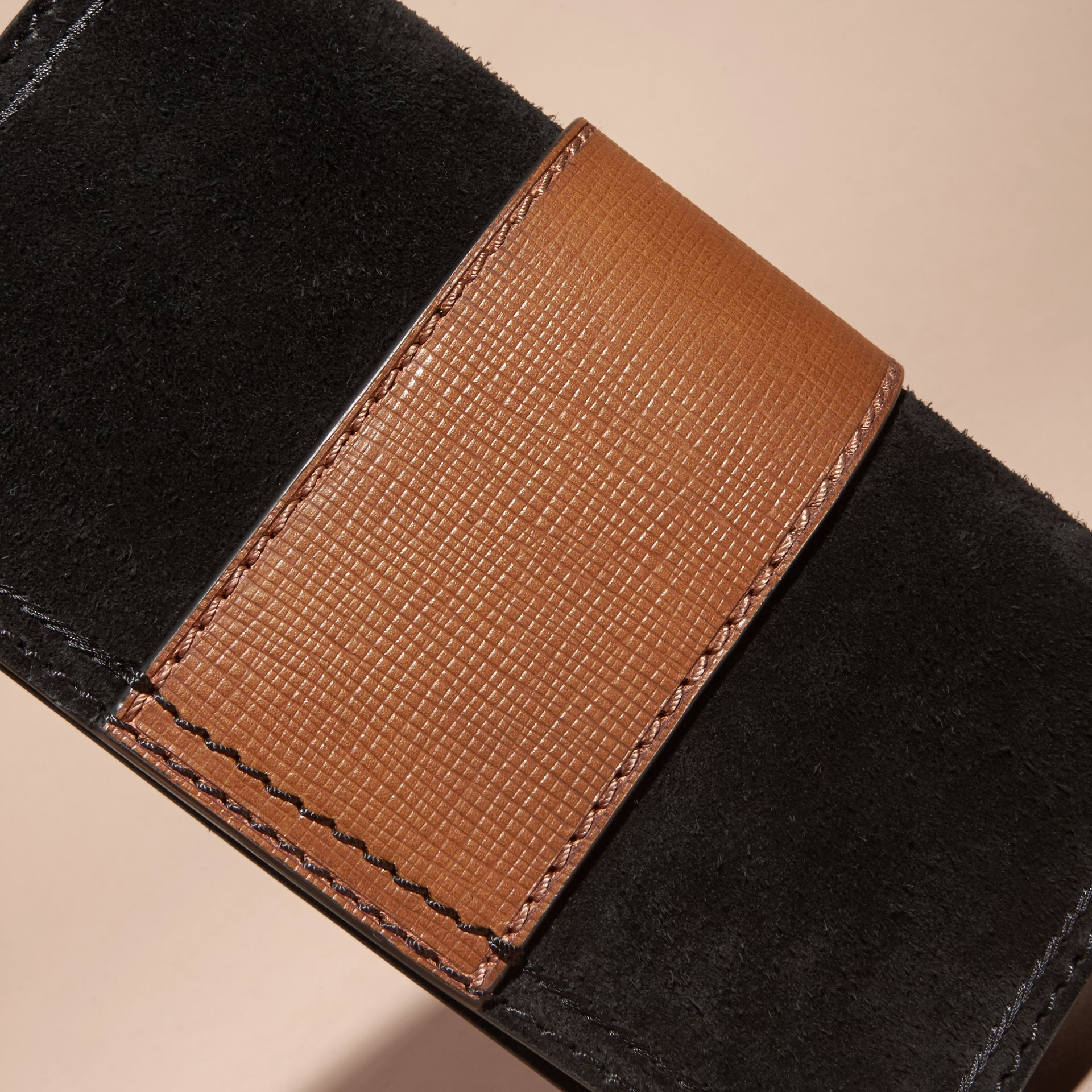 The Small Buckle Bag in Suede with Topstitching in Black / Tan - gallery image 7