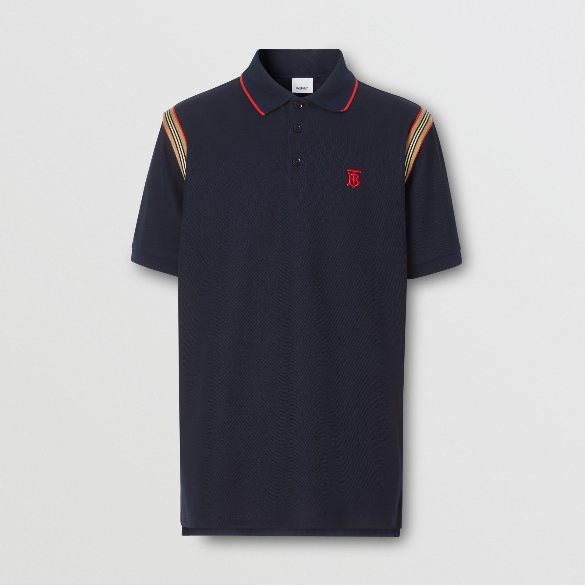 アイコンストライプトリム モノグラムモチーフ コットン ポロシャツ (ネイビー) - メンズ | バーバリー - ギャラリーイメージ 3