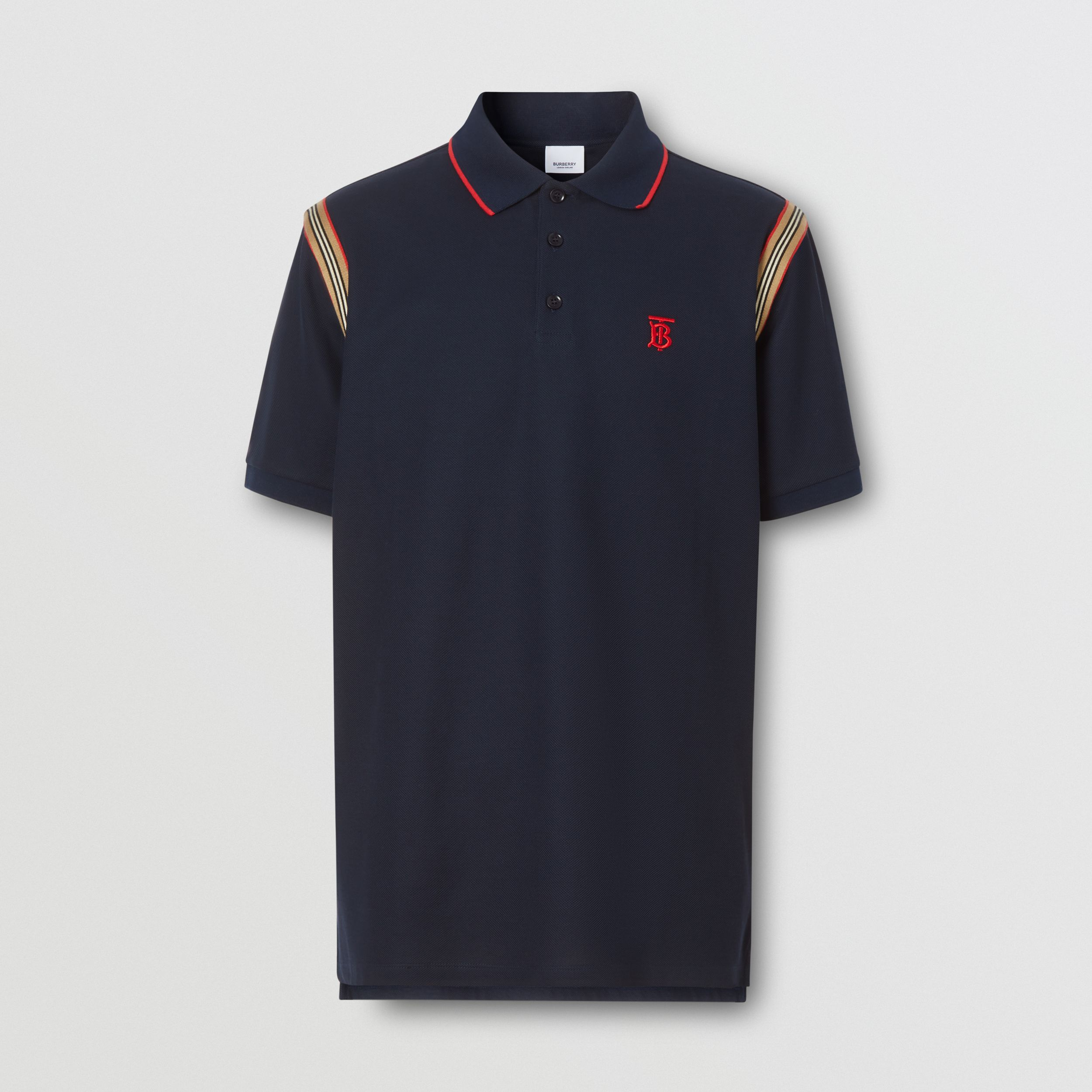 Icon Stripe Trim Monogram Motif Cotton Polo Shirt in Navy - Men | Burberry - 4