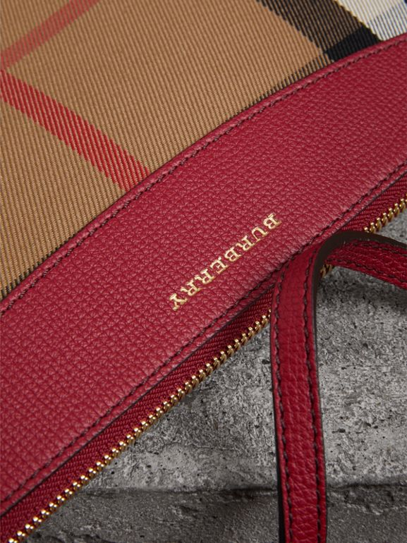 House Check and Leather Clutch Bag in Military Red - Women | Burberry Singapore - cell image 1