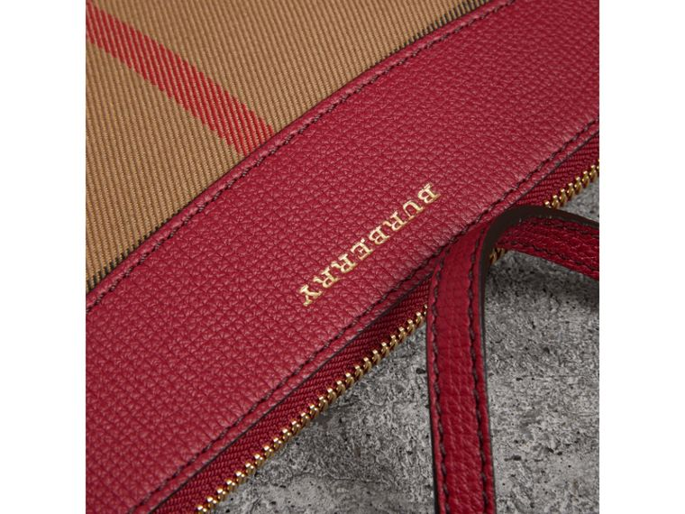 House Check and Leather Clutch Bag in Military Red - Women | Burberry United Kingdom - cell image 1