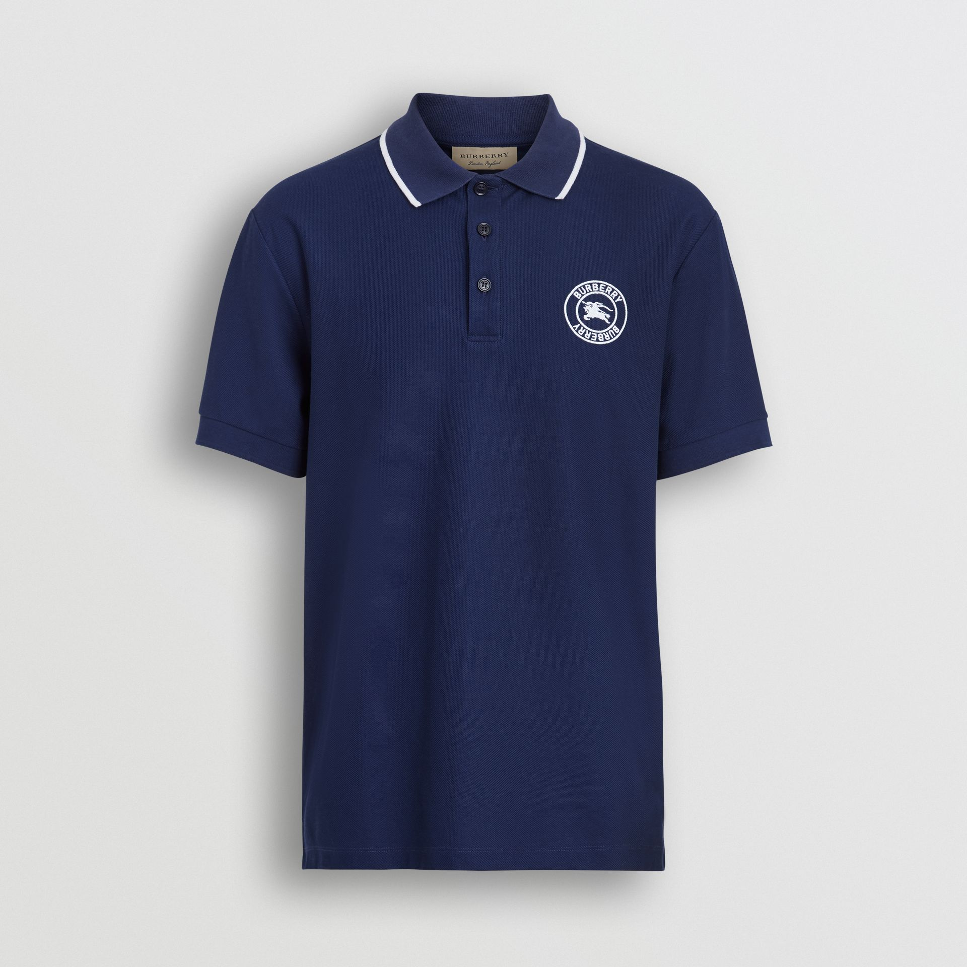 Embroidered Logo Cotton Piqué Polo Shirt in Navy - Men | Burberry - gallery image 3
