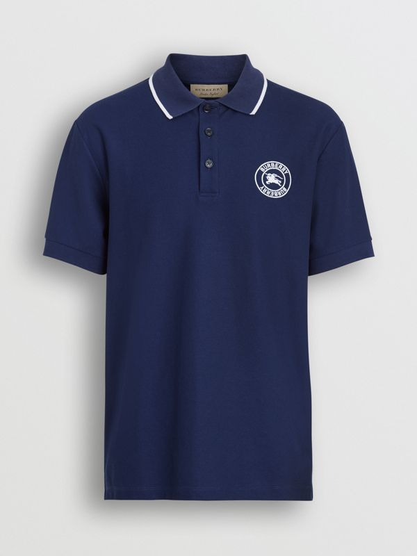 Embroidered Logo Cotton Piqué Polo Shirt in Navy - Men | Burberry Canada - cell image 3