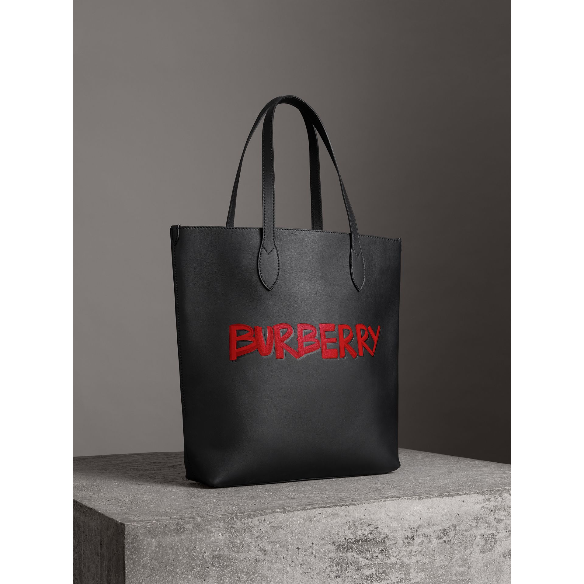 Graffiti Print Bonded Leather Tote in Black | Burberry - gallery image 8