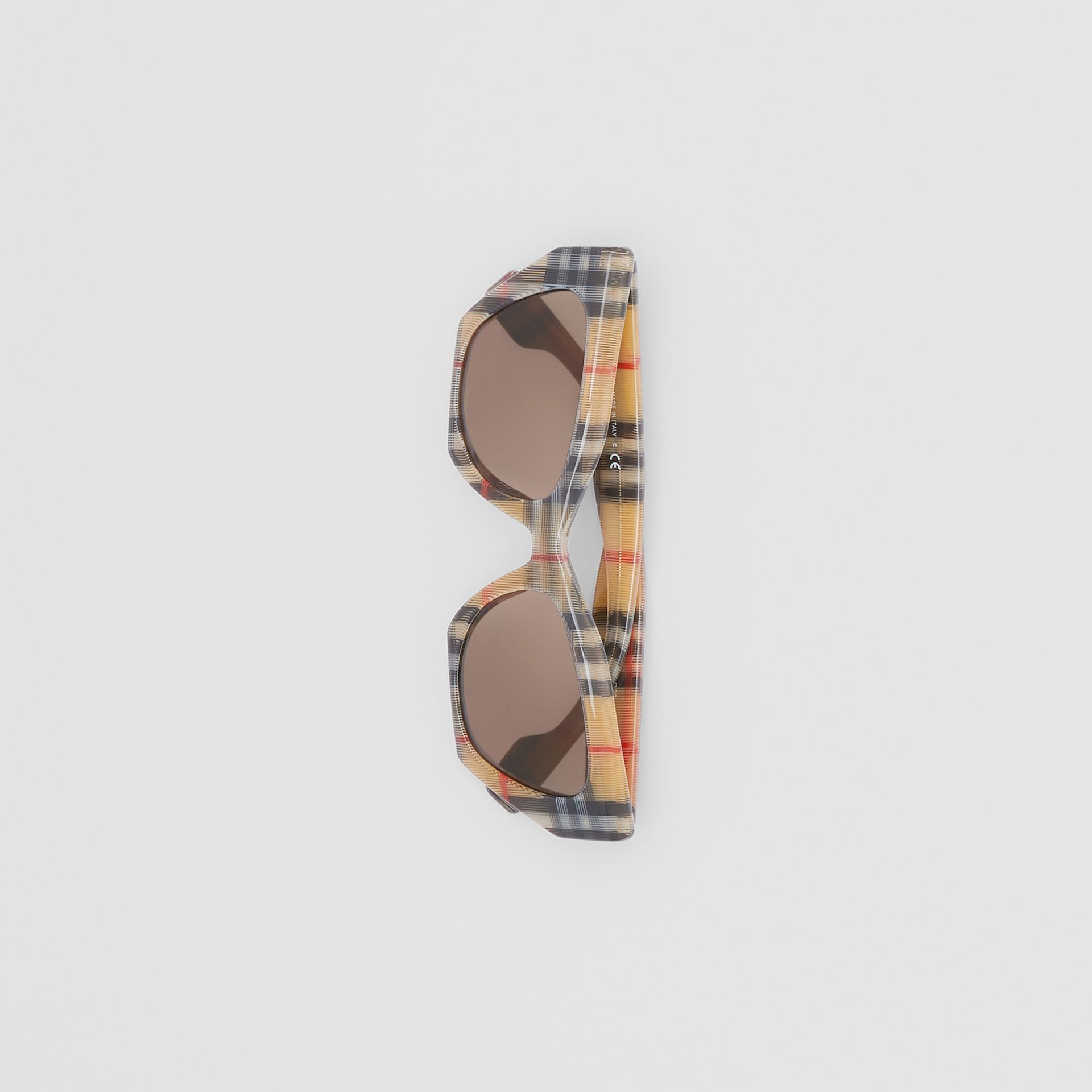 Vintage Check Butterfly Frame Sunglasses in Antique Yellow - Women | Burberry United Kingdom - gallery image 3