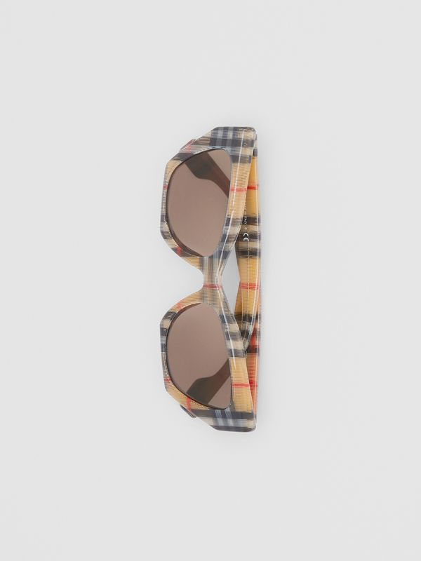 Vintage Check Butterfly Frame Sunglasses in Antique Yellow - Women | Burberry United Kingdom - cell image 3