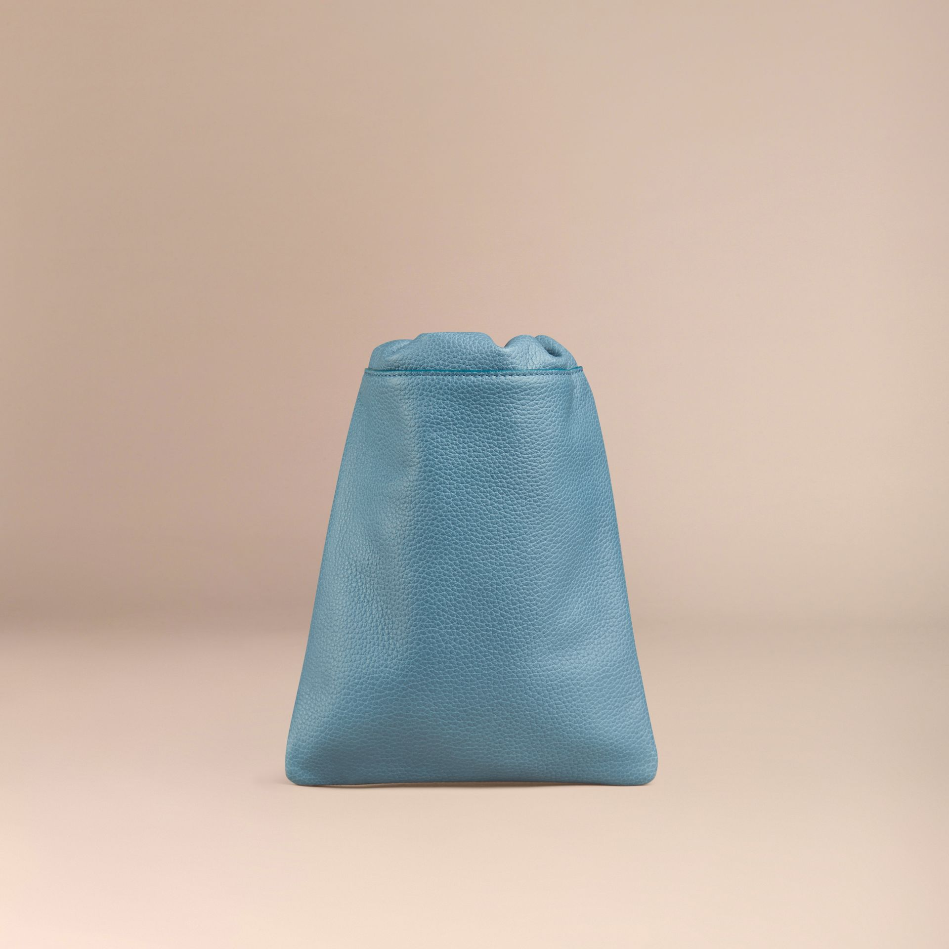 Dusty teal Grainy Leather Drawstring Pouch Dusty Teal - gallery image 4