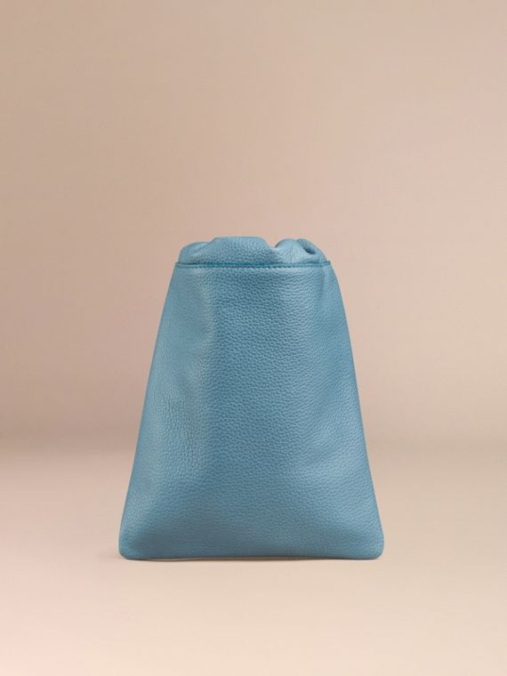 Dusty teal Grainy Leather Drawstring Pouch Dusty Teal - cell image 3