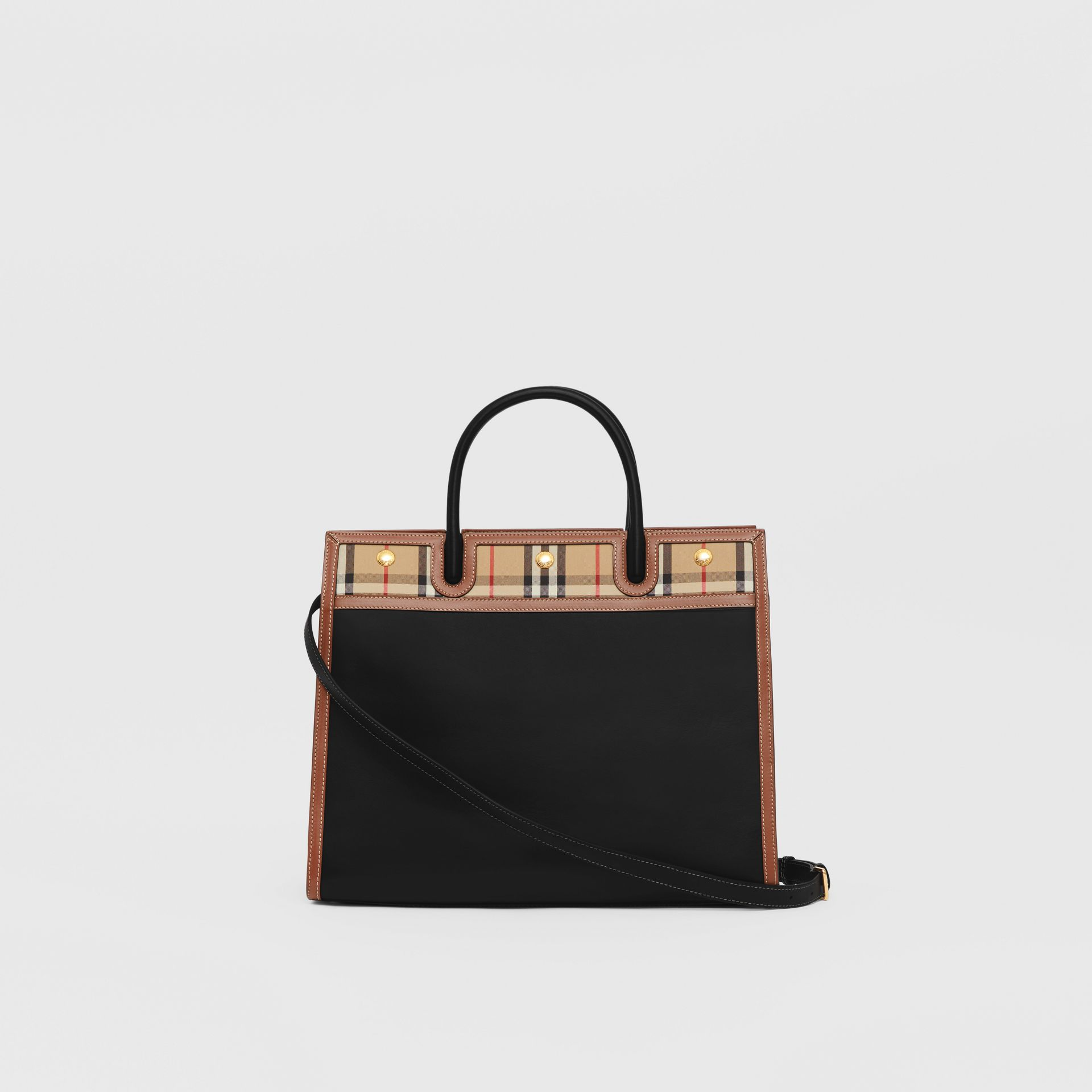 Mini Leather and Vintage Check Two-handle Title Bag in Black - Women | Burberry - gallery image 7