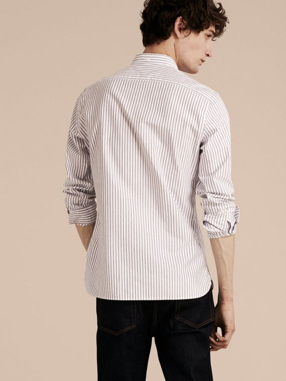 Button-down Collar Oxford Stripe Cotton Shirt in Navy - cell image 2