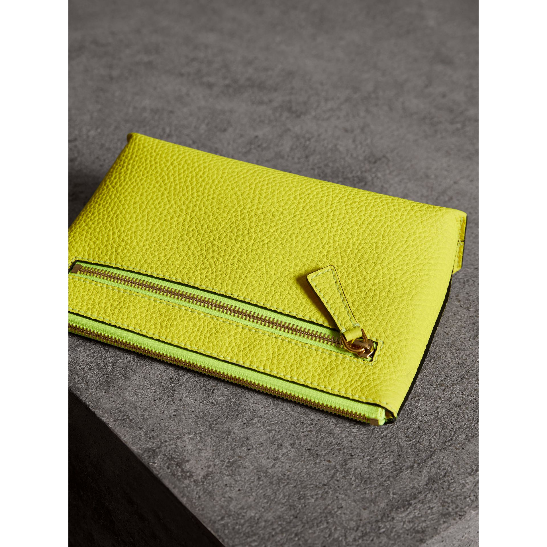 Medium Embossed Leather Zip Pouch in Bright Yellow | Burberry - gallery image 2