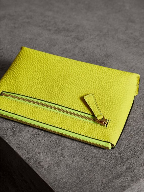 Medium Embossed Leather Zip Pouch in Bright Yellow | Burberry - cell image 2