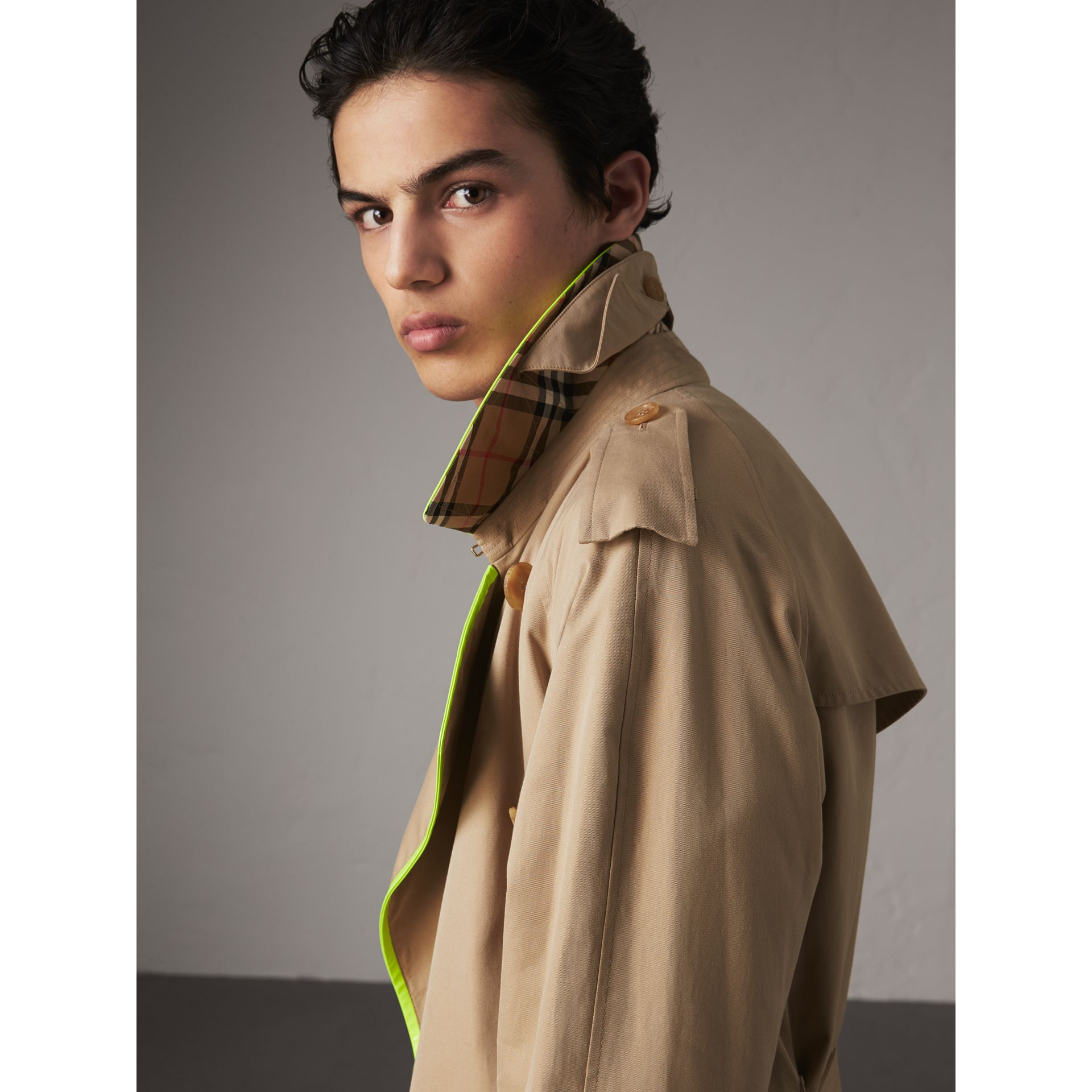 Tape Detail Cotton Gabardine Trench Coat in Honey - Men | Burberry - gallery image 1