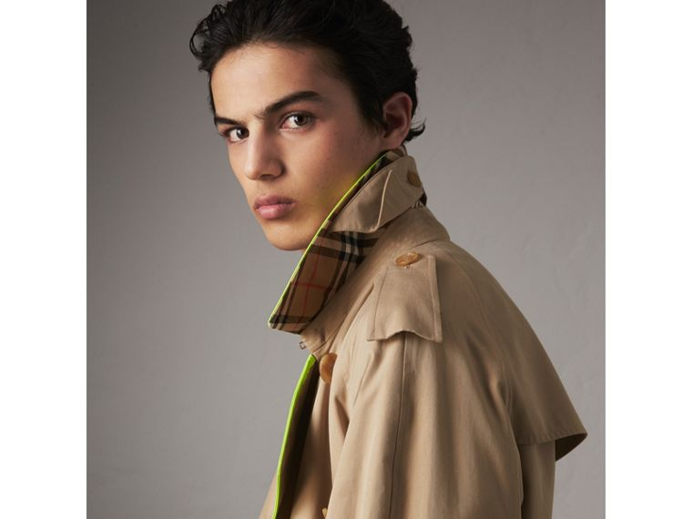 Tape Detail Cotton Gabardine Trench Coat in Honey - Men | Burberry - cell image 1