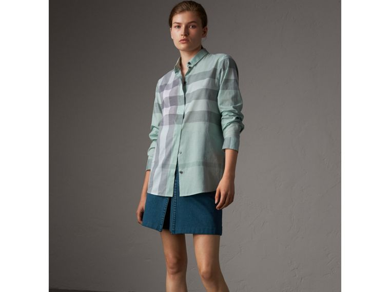 Check Cotton Shirt in Pale Opal - Women | Burberry Australia - cell image 4