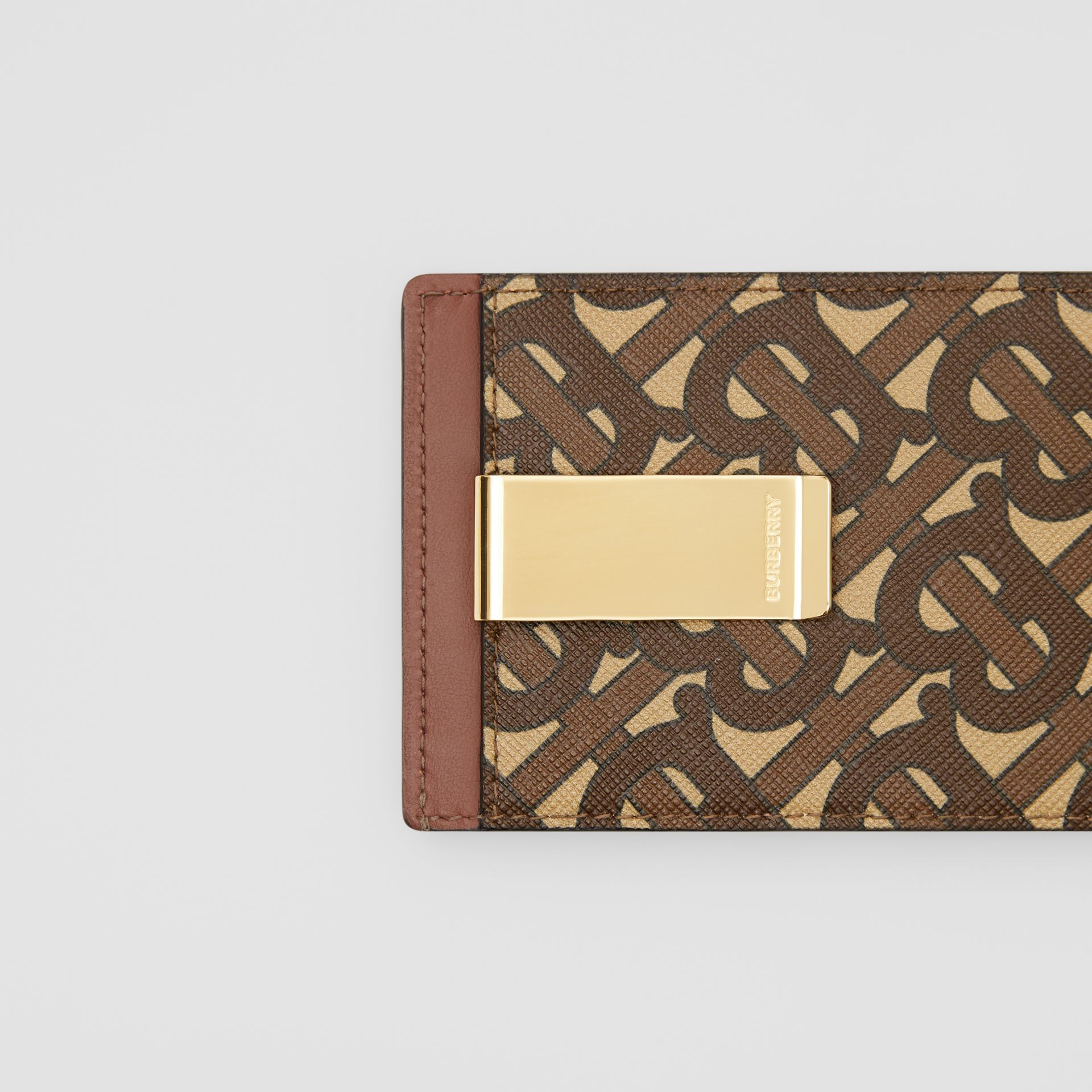 Monogram Print E-canvas Money Clip Card Case in Bridle Brown - Men | Burberry - gallery image 1