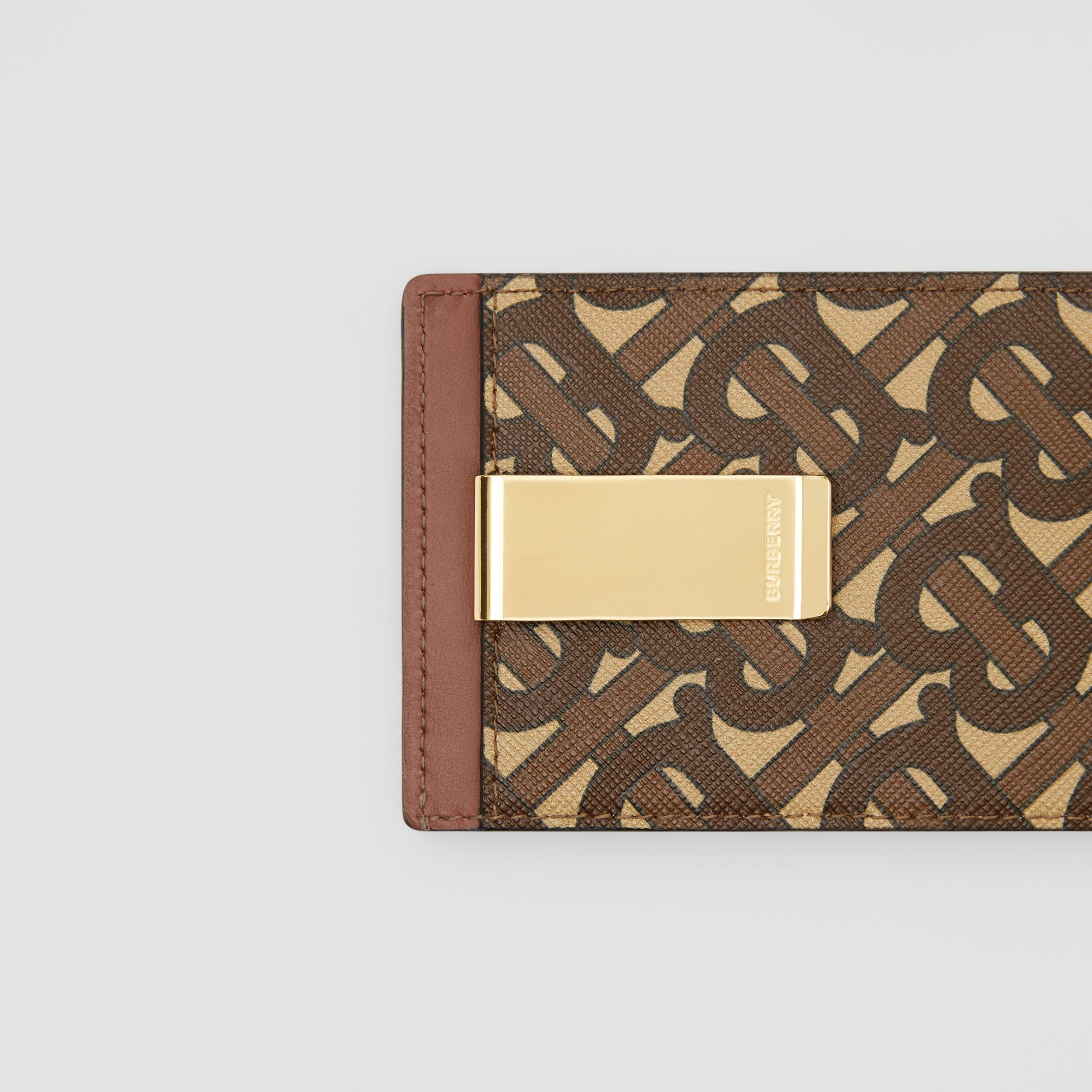 Monogram Print E-canvas Money Clip Card Case in Bridle Brown - Men | Burberry - 2